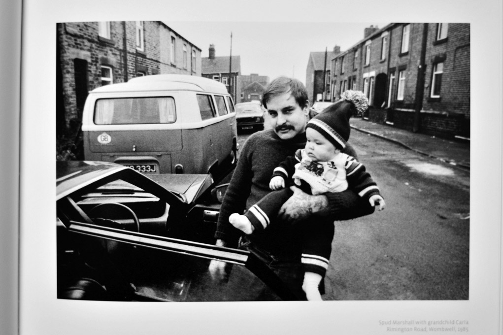 Spud Marshall with grandchild Carla, Rimington Road, Wombwell, 1985